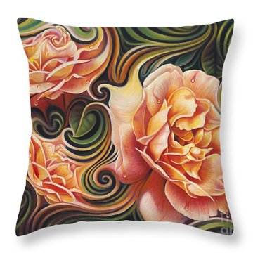 Dynamic Floral V  Roses Throw Pillow