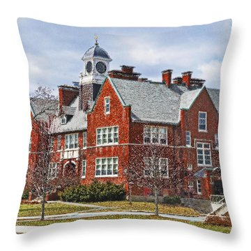 Throw Pillow featuring the photograph E B Newton School Winthrop Ma by Caroline Stella