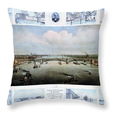 Eads Bridge Drawings Throw Pillow