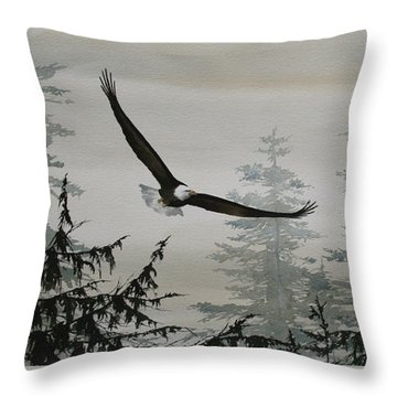 Eagle And Cedars Throw Pillow by James Williamson