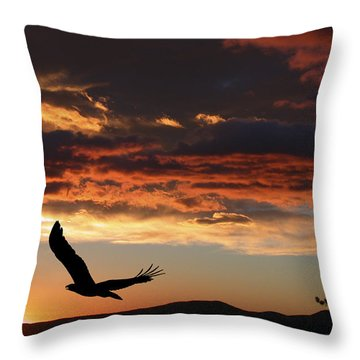 Eagle At Sunset Throw Pillow