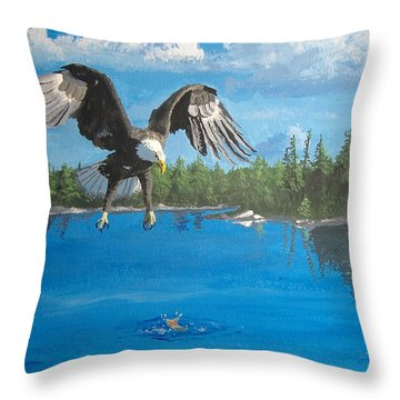 Eagle Attack Throw Pillow by Norm Starks