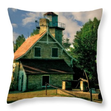 Eagle Bluff Light 2.0 Throw Pillow by Michelle Calkins
