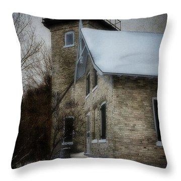 Eagle Bluff Light Throw Pillow by Joan Carroll