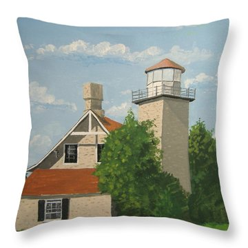 Throw Pillow featuring the painting Eagle Bluff Lighthouse Wisconsin by Norm Starks