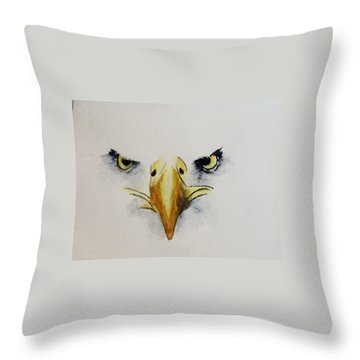 Eagle Eyes Throw Pillow by Catherine Swerediuk