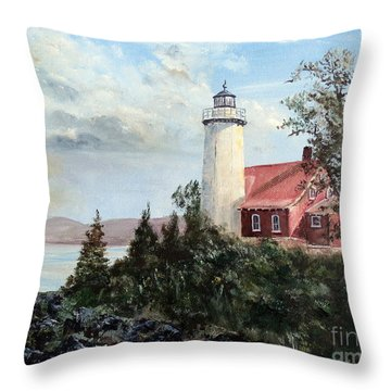 Throw Pillow featuring the painting Eagle Harbor Light by Lee Piper