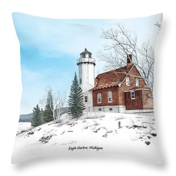 Eagle Harbor Lighthouse Titled Throw Pillow by Darren Kopecky