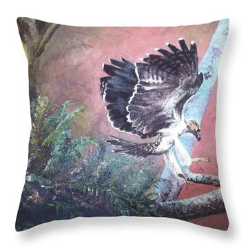 Throw Pillow featuring the painting Eagle Light by Mary Ellen Anderson