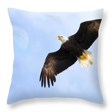 Eagle Moon Throw Pillow by Mark Andrew Thomas