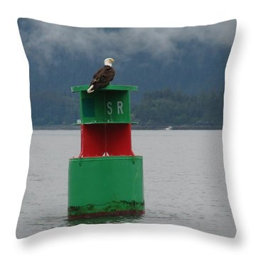 Eagle On Bouy Throw Pillow