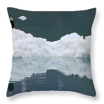 Eagle On Ice Throw Pillow by Shoal Hollingsworth