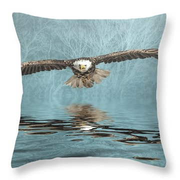 Throw Pillow featuring the photograph Eagle On Misty Lake by Brian Tarr