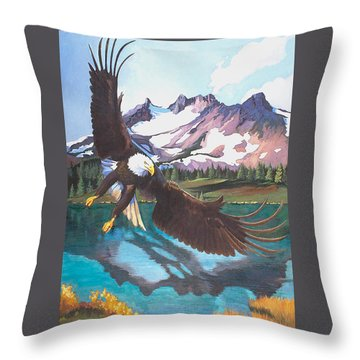 Eagle Oregon Lake Throw Pillow