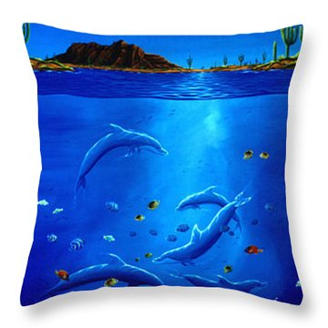 Eagle Over Dolphins Throw Pillow by Lance Headlee