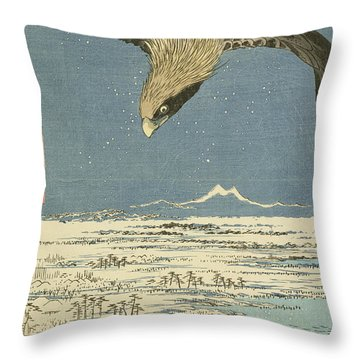 Eagle Over One Hundred Thousand Acre Plain At Susaki Throw Pillow by Hiroshige