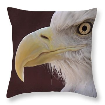 Eagle Portrait Freehand Throw Pillow by Ernie Echols