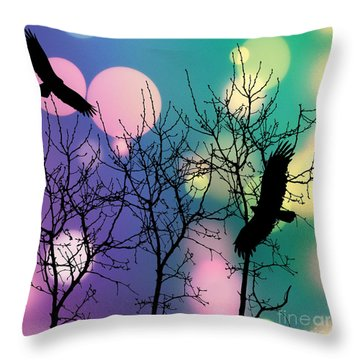 Throw Pillow featuring the digital art Eagle Rebirth Light by Kim Prowse