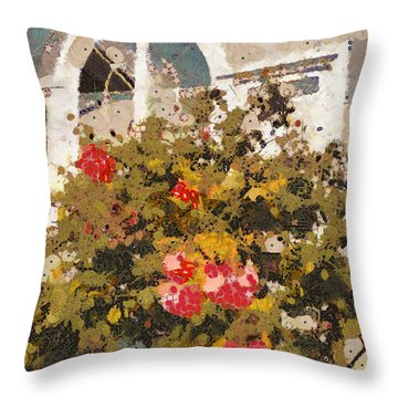 Alameda Roses Throw Pillow by Linda Weinstock