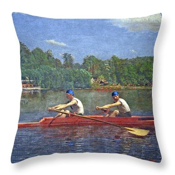 Eakins' The Biglin Brothers Racing Throw Pillow