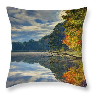 Throw Pillow featuring the photograph Early Autumn At Caldwell Lake by Jaki Miller