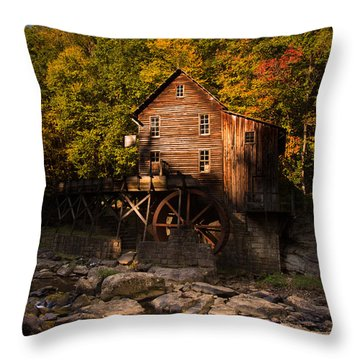 Early Autumn At Glade Creek Grist Mill Throw Pillow