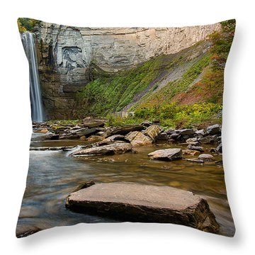 Early Autumn Morning At Taughannock Falls Throw Pillow