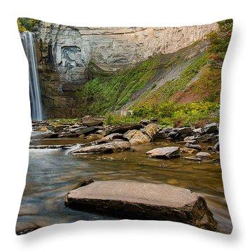 Early Autumn Morning At Taughannock Falls Throw Pillow