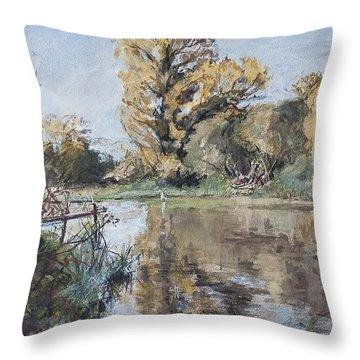 Early Autumn On The River Test Throw Pillow by Caroline Hervey-Bathurst