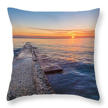 Early Breakwater Sunrise Throw Pillow