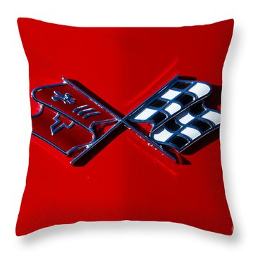 Early C3 Corvette Emblem Red Throw Pillow