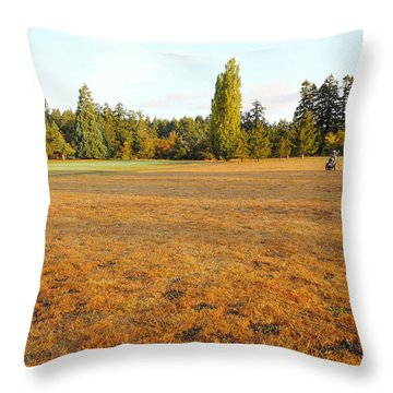 Early Fall Morning In The Rough On The Golf Course Throw Pillow