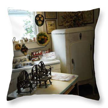 Early Fifty's Kitchen Throw Pillow by Randall Branham
