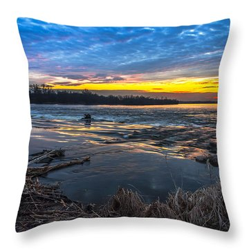 Early March Sunset Over Narew River In Poland Throw Pillow