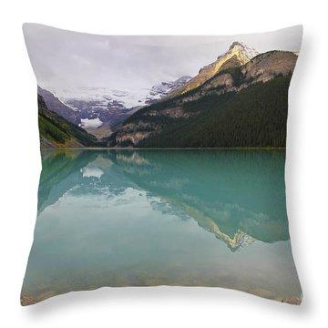 Early Morning At Lake Louise Throw Pillow by Teresa Zieba
