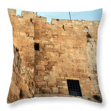 Throw Pillow featuring the photograph Early Morning At The Jaffa Gate by Doc Braham