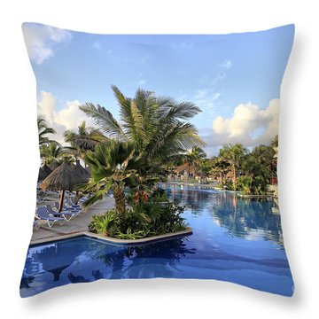 Early Morning At The Pool Throw Pillow by Teresa Zieba