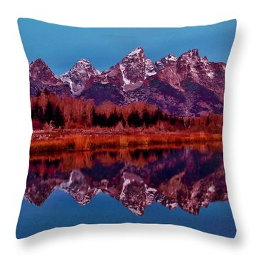 Throw Pillow featuring the photograph Early Morning At The Tetons by Benjamin Yeager