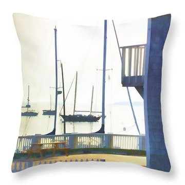 Early Morning Camden Harbor Maine Throw Pillow