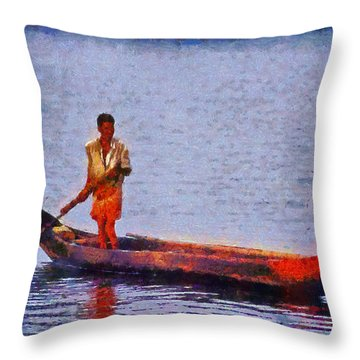 Early Morning Fishing In India Throw Pillow by George Atsametakis