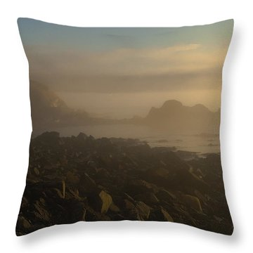 Early Morning Fog At Quoddy Throw Pillow by Marty Saccone