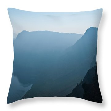Throw Pillow featuring the photograph Early Morning Fog Over Crater Lake by Jeff Goulden