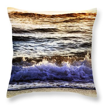 Early Morning Frothy Waves Throw Pillow