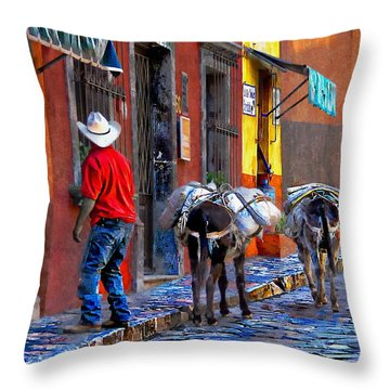 Throw Pillow featuring the photograph Early Morning In Centro by John  Kolenberg