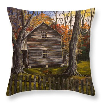 Early Morning In The Smokey Mountains Throw Pillow by Julia Robinson