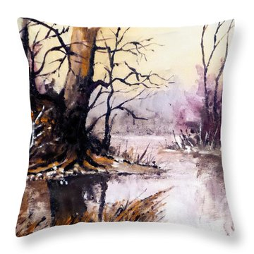 Throw Pillow featuring the painting Early Morning by Jim Phillips