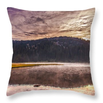 Early Morning Lake Light Throw Pillow by Robert Bales