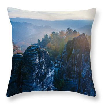 Early Morning Mist At The Bastei In The Saxon Switzerland Throw Pillow
