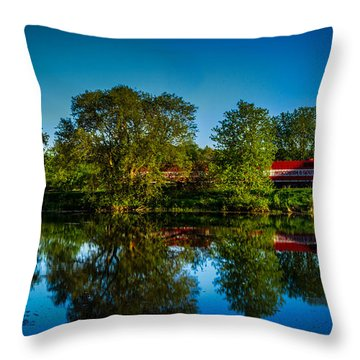 Early Morning Rest Stop Throw Pillow by Randy Scherkenbach