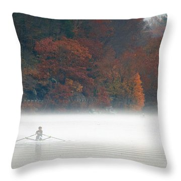Early Morning Row Throw Pillow by Karol Livote